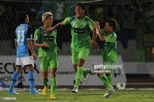 Wellington of Shonan Bellmare celebrates the first goal during the JLeague match between Shonan Bellmare and Jubilo Iwata at BMW Stadium Hiratsuka on...