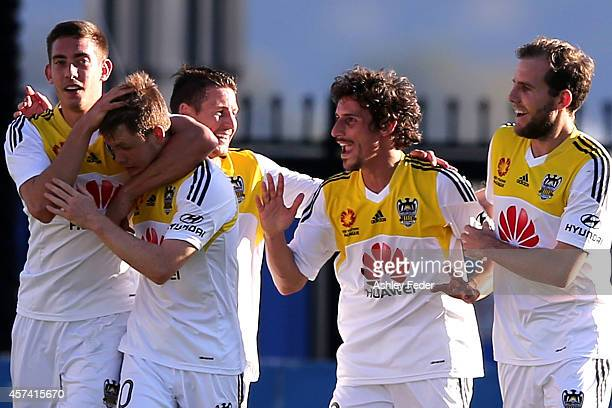 Wellington Phoenix celebrate a goal during the round two ALeague match between the Central Coast Mariners and the Wellington Phoenix at Central Coast...