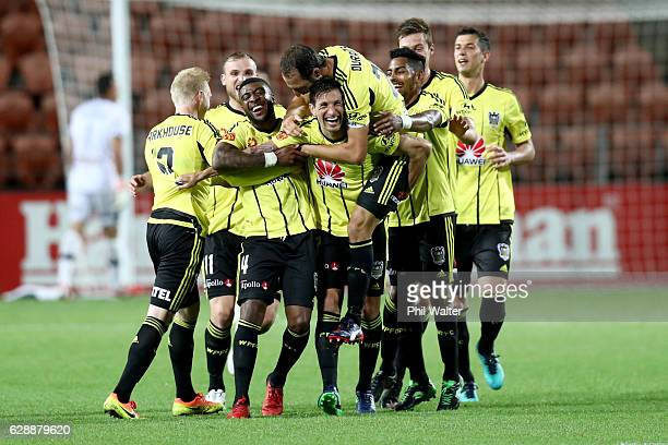 Wellington Phoenix celebrate a goal to Guilherme Finkler during the round 10 ALeague match between the Wellington Phoenix and the Central Coast...