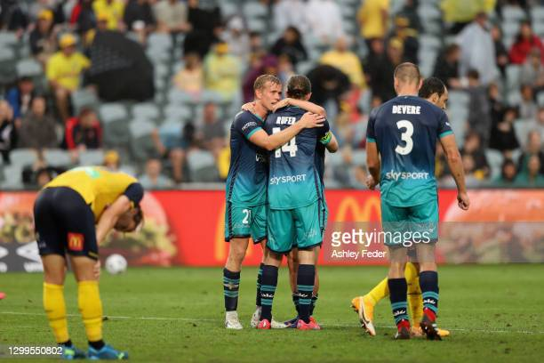Wellington Phoenix celebrate the win during the A-League match between the Central Coast Mariners and the Wellington Phoenix at Central Coast...