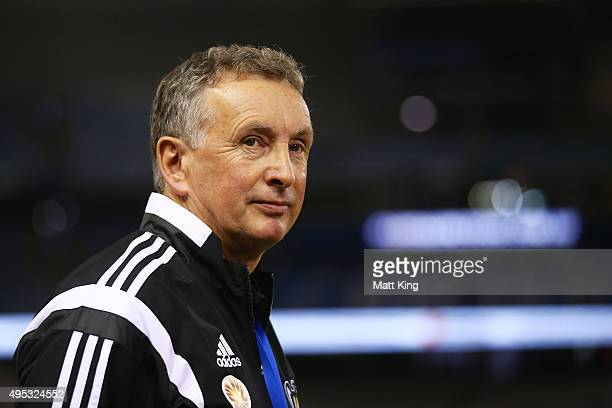 Wellington Phoenix head coach Ernie Merrick looks on before the round four ALeague match between the Melbourne Victory and Wellington Phoenix at...