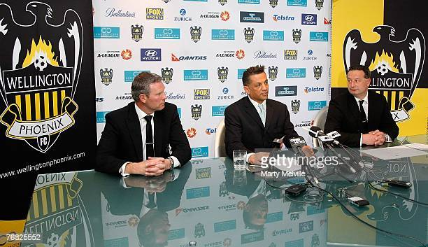 Wellington Phoenix head coach Ricki Herbert Wellington Phoenix Owner Terry Serepisos and Wellington Phoenix CEO Tony Pignata address the media at a...