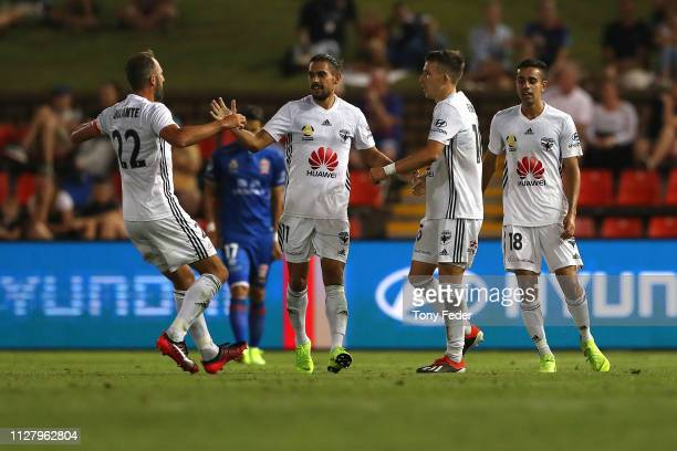 Wellington Phoenix players celebrate a goal during the round 18 ALeague match between the Newcastle Jets and the Wellington Phoenix at McDonald Jones...