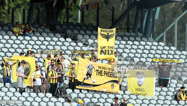 Wellington Phoenix supporters during the round 222 A-League match between the Central Coast Mariners and the Wellington Phoenix at Central Coast...