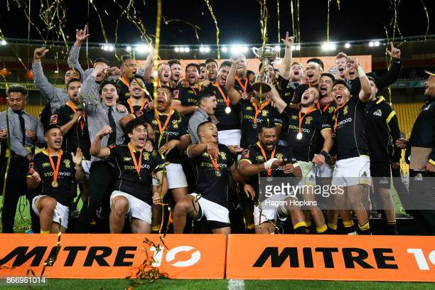 Wellington players celebrate after winning the Mitre 10 Cup Championship Final match between Wellington and Bay of Plenty at Westpac Stadium on...