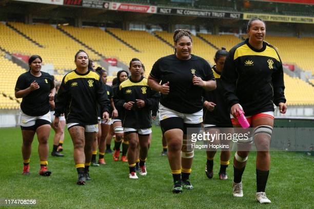Wellington players leave the field after warming up during the round 3 Farah Palmer Cup match between Wellington and Counties Manukau at Westpac...