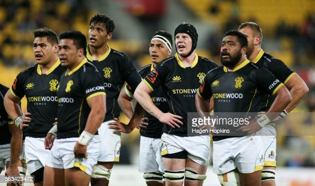 Wellington players look at a replay on the big screen during the Mitre 10 Cup Semi Final match between Wellington and Northland at Westpac Stadium on...