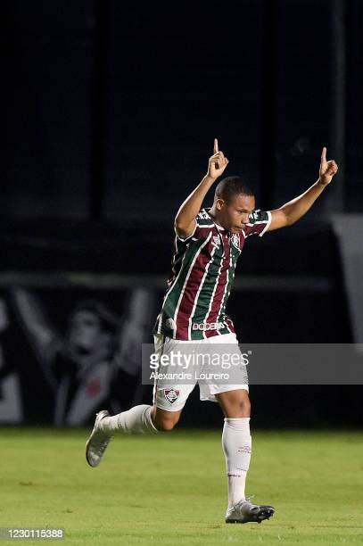 Wellington Silva of Fluminense celebrates after scoring a goal during the match between Vasco da Gama and Fluminense as part of Brasileirao Series A...