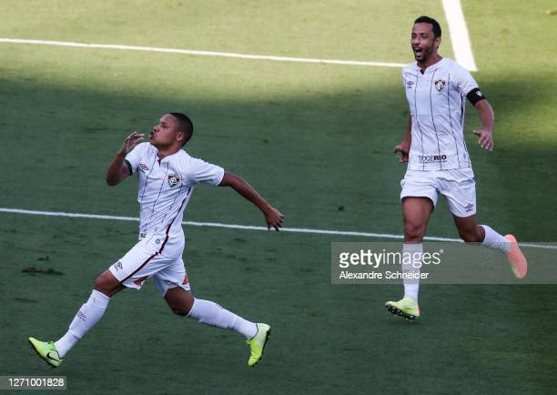 Wellington Silva of Fluminense celebrates after scoring the first goal of his team during the match against Sao Paulo as part of the Brasileirao...