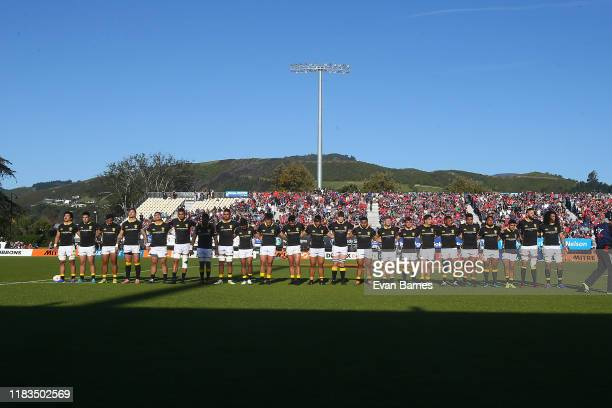Wellington team at the start of the Mitre 10 Cup Premiership Final between Tasman and Wellington at Trafalgar Park on October 26, 2019 in Nelson, New...