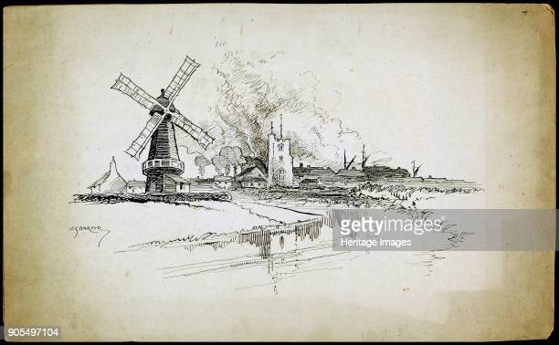 Wellington Windmill Barking London 18921933 A view from the south looking over the River Roding showing Wellington Windmill and St Margaret's Church...