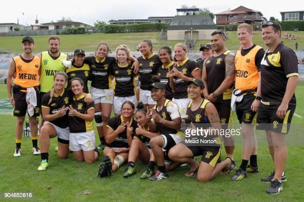 Wellington Women's team during the Bayleys National Sevens Tournament at Rotorua International Stadium on January 14 2018 in Rotorua New Zealand