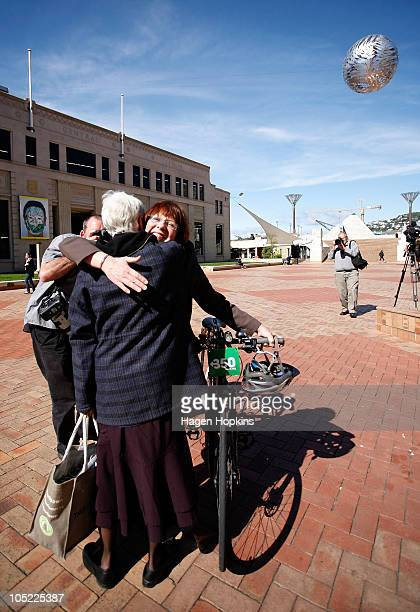 Wellington's new Mayor Celia WadeBrown is congratulated by exGreen MP Jeanette Fitzsimons at the Civic Square outside Wellington City Council on...
