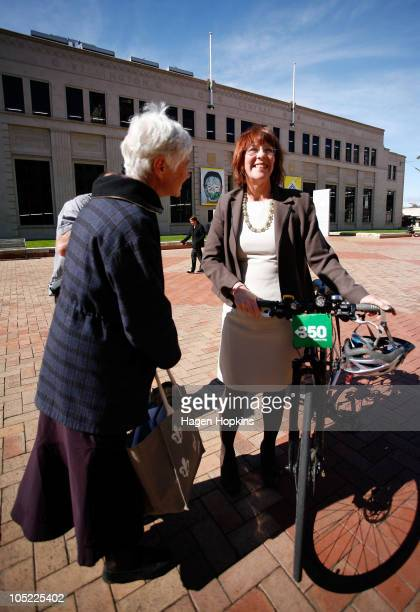 Wellington's new Mayor Celia WadeBrown talks to exGreen MP Jeanette Fitzsimons at the Civic Square outside Wellington City Council on October 13 2010...