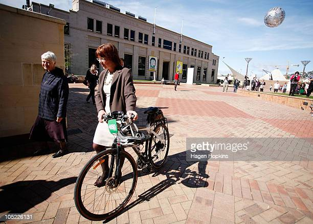 Wellington's new Mayor Celia WadeBrown walks with exGreen MP Jeanette Fitzsimons at the Civic Square outside Wellington City Council on October 13...