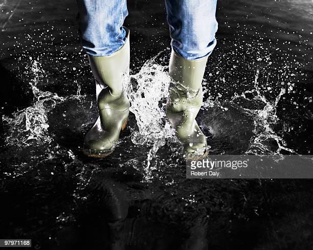 Das Wellingtons Planschen im Wasser
