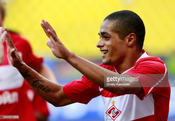 Welliton of FC Spartak Moscow celebrates after scoring a goal during the Russian Football League Championship match between FC Spartak Moscow and FC...