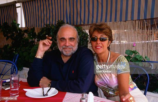 well-known singer, demis roussos with his french wife in a piraeus restaurant. - demis roussos pictures stock pictures, royalty-free photos & images