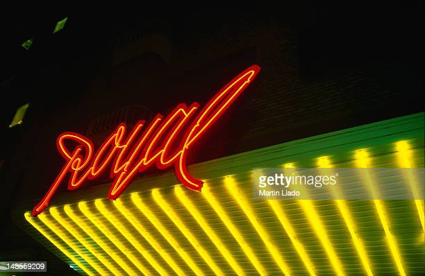 well-lit entrance arch royal cinema on sodra vagen. - gothenburg stock pictures, royalty-free photos & images