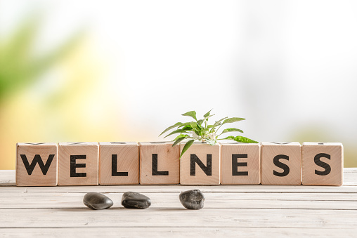 Wellness sign with wooden cubes 513319180