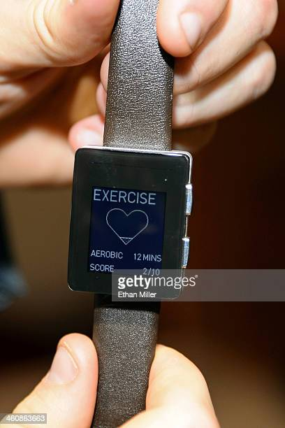 Wellograph watch and activity tracker is displayed at a press event at the Mandalay Bay Convention Center for the 2014 International CES on January...
