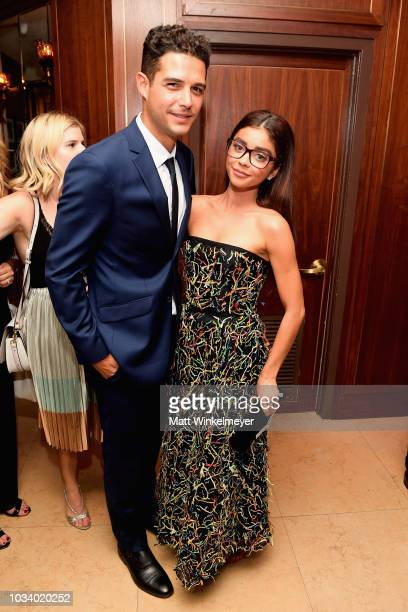 Wells Adams and Sarah Hyland attend the 2018 PreEmmy Party hosted by Entertainment Weekly and L'Oreal Paris at Sunset Tower on September 15 2018 in...