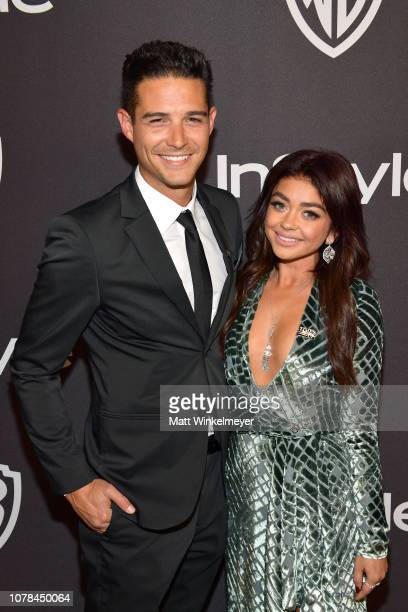 Wells Adams and Sarah Hyland attend the 2019 InStyle and Warner Bros 76th Annual Golden Globe Awards PostParty at The Beverly Hilton Hotel on January...