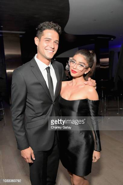 Wells Adams and Sarah Hyland attend the Audi preEmmy celebration at the La Peer Hotel in West Hollywood on Friday September 14 2018