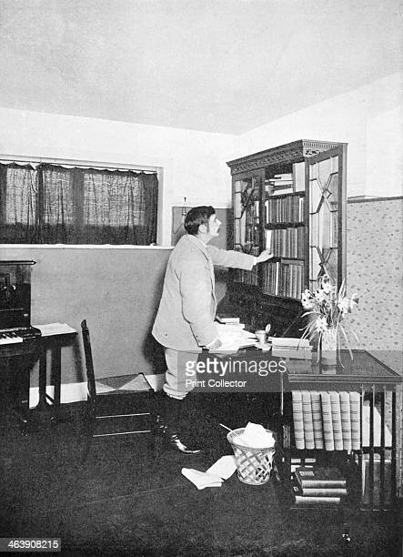 HG Wells English novelist writer and popular historian c1902 Hubert George Wells seen here in his study at Spade House Sandgate Kent is best known...