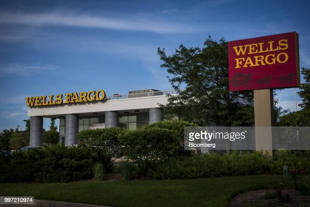 A Wells Fargo Co bank branch stands in Evanston Illinois US on Tuesday July 10 2018 Wells Fargo Co is scheduled to release earnings figures on July...