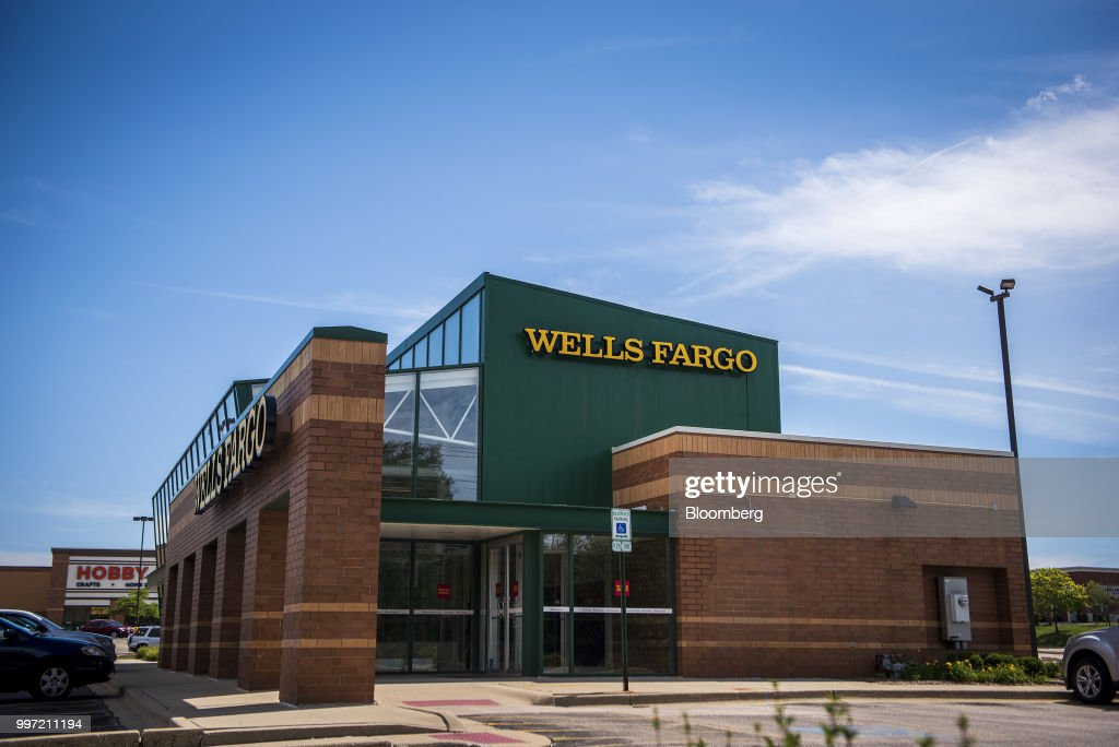 A Wells Fargo & Co. bank branch stands in Palatine, Illinois, U.S., on Tuesday, July 10, 2018. Wells Fargo & Co. is scheduled to release earnings figures on July 13. Photographer: Christopher Dilts/Bloomberg via Getty Images