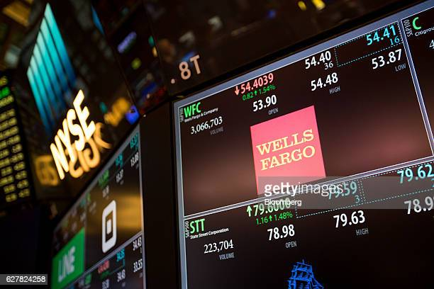 Wells Fargo Co signage is displayed on a monitor on the floor of the New York Stock Exchange in New York US on Monday Dec 5 2016 US stocks climbed...