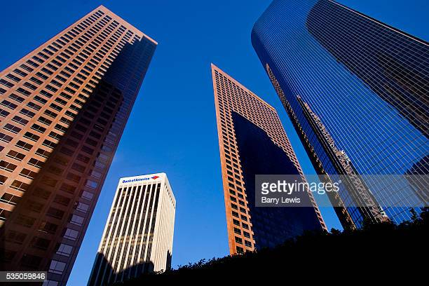 Wells Fargo tower nestled in amongst the other downtown buildings on the top of Bunker hill in Downtown Los Angeles The Wells Fargo Center consists...