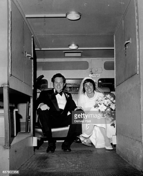 Wells Fargo Van Transports Newlyweds Mr and Mrs Owen Earl Locke ride in security to the wedding reception at Cherry Hills Country Club that followed...