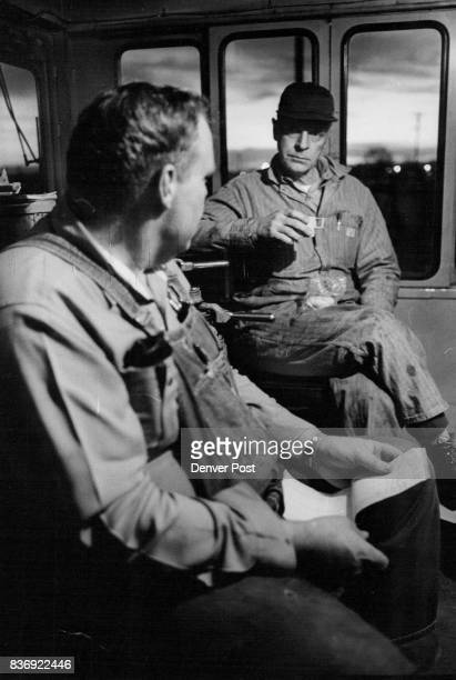 Wells foreground who is relatively new on the job asks Glazier questions during their lunch stop The railroad has seven fulltime employes and they...