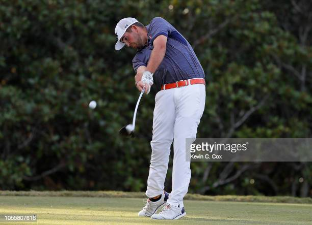 Wells Padgett of the Auburn Tigers tees off the 14th hole during day three of the 2018 East Lake Cup at East Lake Golf Club on October 31 2018 in...