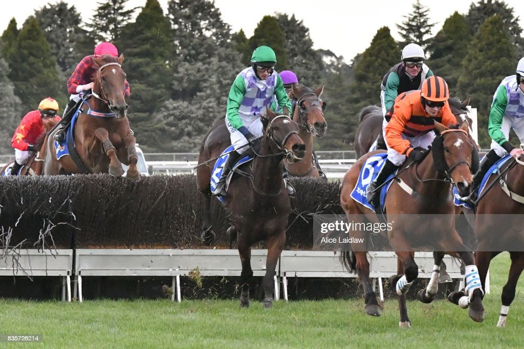 Wells ridden by Richard Cully jumps on the first lap of the E-Cycle Solutions Grand National Steeplechase at Sportsbet-Ballarat Racecourse on August 20, 2017 in Ballarat, Australia.