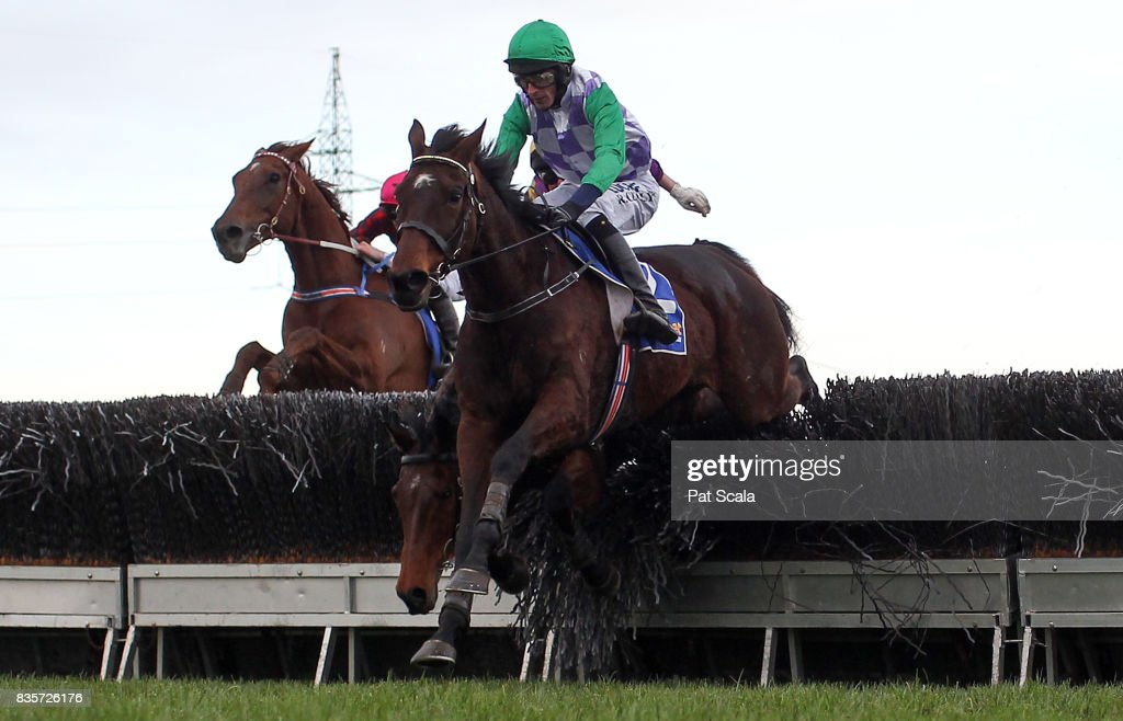 Wells ridden by Richard Cully wins the E-Cycle Solutions Grand National Steeplechase at Sportsbet-Ballarat Racecourse on August 20, 2017 in Ballarat, Australia.