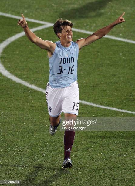 Wells Thompson of the Colorado Rapids discarded his jersey and sends a message as he celebrates his goal in the 83rd minute against the New England...