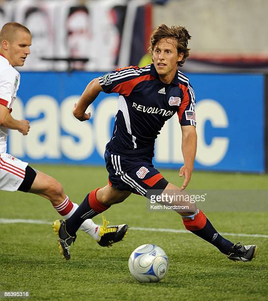 Wells Thompson of the New England Revolution controls the ball against the New York Red Bulls June 7 2009 at Gillette Stadium in Foxborough...