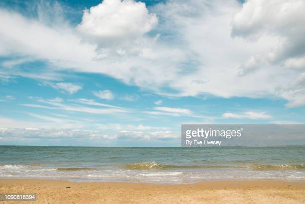 wells-next-the-sea beach on a summers day - water's edge stock pictures, royalty-free photos & images