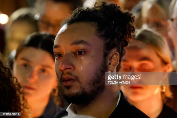 Well-wisher reacts during a vigil for 28 year-old teacher Sabina Nessa, whose body was found near the Onespace community centre, at Pegler Square,...