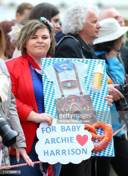 A wellwisher with gifts for Archie Harrison MountbattenWindsor the newborn child of Prince Harry Duke of Sussex and Meghan Duchess of Sussex ahead of...