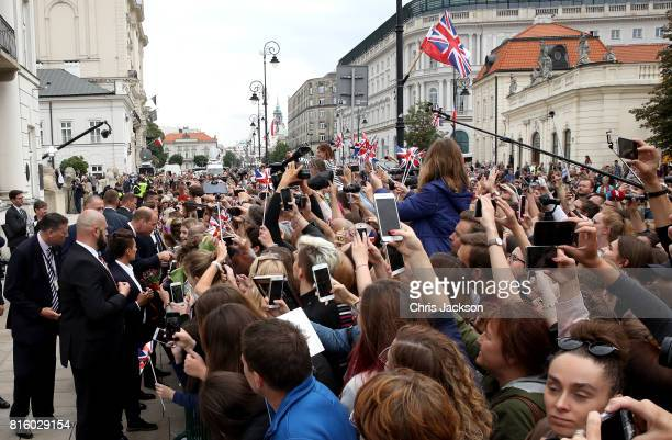 Wellwishers gather as Catherine Duchess of Cambridge and Prince William Duke of Cambridge visit the Presidential Palace on day 1 of their official...