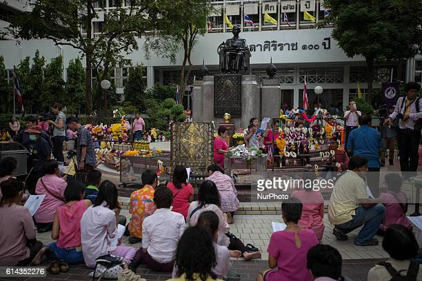 Well-wishers gather at Siriraj Hospital to give special prayers for Thailand's King Bhumibol Adulyadej as his health has deteriorated and he's now in...