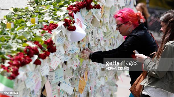 Wellwishers leave a message on London Bridge in London on June 12 following the June 3 terror attack that targeted members of the public on both...