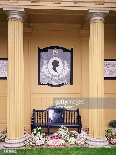 Wellwishers leave flowers at the Doric Temple dedicated to the memory of Diana, Princess of Wales at Althorp House, the Spencer family estate, on...