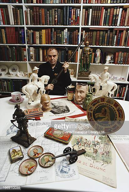 Welsh actor and documentary filmmaker Kenneth Griffith at his home with some of his collection of Boer War memorabilia circa 1970