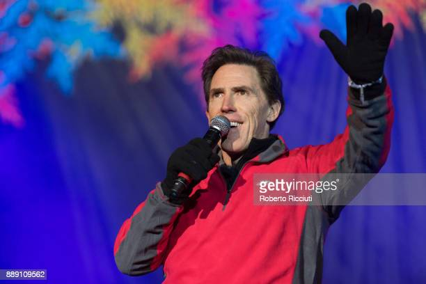 Welsh actor and presenter Rob Brydon performs on stage during Sleep In The Park a Mass Sleepout organised by Scottish social enterprise Social Bite...