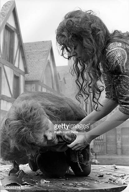 Welsh actor Anthony Hopkins as Quasimodo and Lesley-Anne Down as Esmeralda in the film 'The Hunchback of Notre Dame', aka 'Hunchback', 1982. Here she...